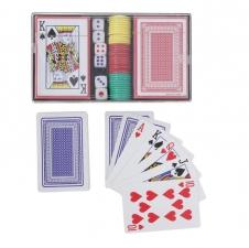 Набор для покера в пласт. коробке 36 фишек без/ном., 2 колоды карт бум. х4шт, 6 кубиков
