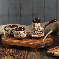 "Кофейный набор ""Деревня"", лепка, 3 предмета: турка 0,2 л, чашки 0,1 л"