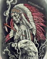 """Картина по номерам """"Девушка в индейском обличии с орлом"""" 40х50 см, на подрамнике_0"""