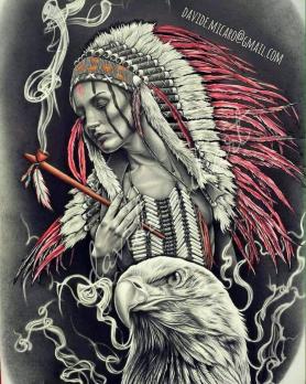 """Картина по номерам """"Девушка в индейском обличии с орлом"""" 40х50 см, на подрамнике"""