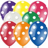 Воздушные цветные шары с гелием в горошек