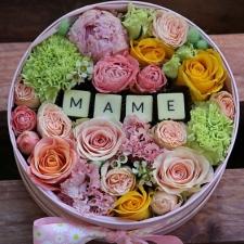 Цветы в коробках с фруктами и сладостями_3
