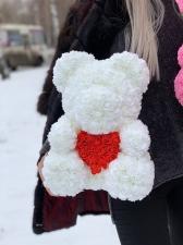 Мишка из роз с сердцем 3D в подарочной упаковке (Большой 40 см)_1