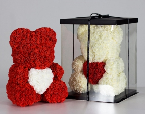 Мишка из роз с сердцем 3D в подарочной упаковке (Большой 40 см)_0
