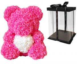 Мишка из роз с сердцем 3D в подарочной упаковке (Большой 40 см)_3