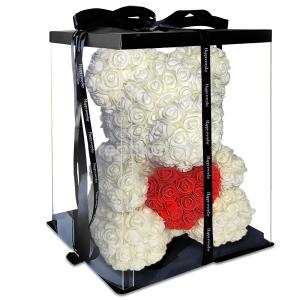 Мишка из роз белый с красным сердцем 3D в подарочной упаковке (Большой 40 см)