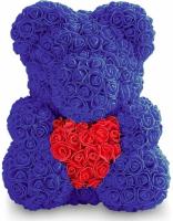 Мишка из роз синий с красным сердцем 3D в подарочной упаковке (Большой 40 см)