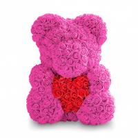 Мишка из роз розовый с красным сердцем 3D в подарочной упаковке (Большой 40 см)