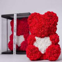 Мишка из роз красный с белым сердцем 3D в подарочной упаковке (Большой 40 см)