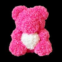 Мишка из роз розовый с белым сердцем 3D в подарочной упаковке (Большой 40 см)