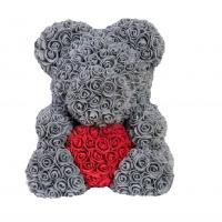 Мишка из роз серый с красным сердцем 3D в подарочной упаковке (Большой 40 см)