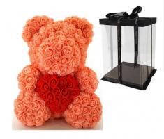 Мишка из роз оранжевый с красным сердцем 3D в подарочной упаковке (Большой 40 см)